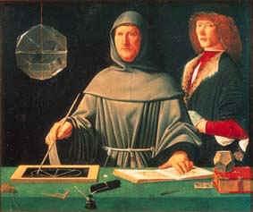 Ritratto di Luca Pacioli (1495),  attribuito a  Jacopo de' Barbari.  -  Museo di Capodimonte