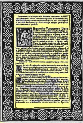 La dedica al Principe Ubaldo di Urbino della prima edizione della
